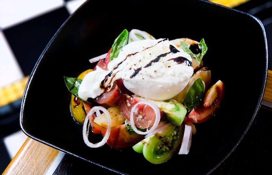 Burrata, tomato and peach salad by Gordon Ramsay