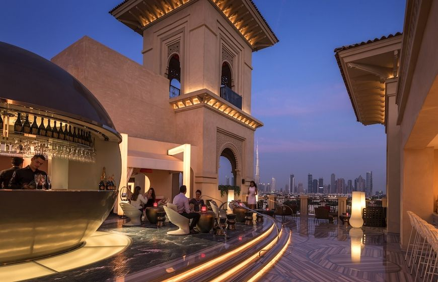 Enjoy Views of a Dubai Beach at a Hotel Bar