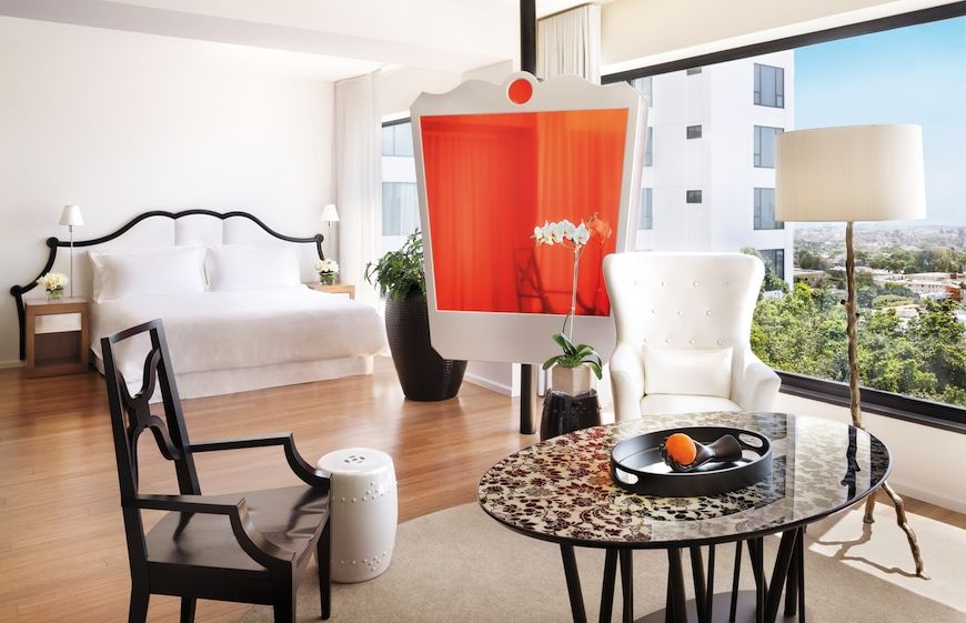 A guest room at Mondrian in Los Angeles