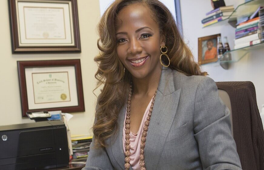 Business woman Gail Warrior in her office