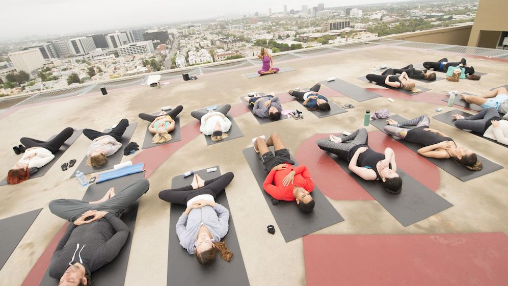 A Helipad Yoga Class on the rooftop of Four Seasons Hotel Los Angeles at Beverly Hills