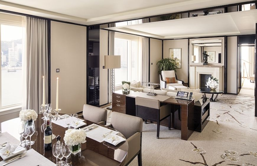 The Peninsula Hong Kong Grand Deluxe harbour view suite living and dining room