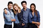 Karlie Kloss the supermodel modeling with other supermodels in a Joe Fresh campaign