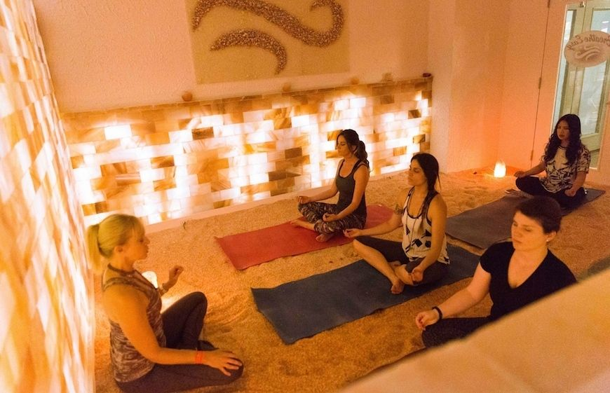 Women attending a Breathe Easy Salty Yoga class in New York City