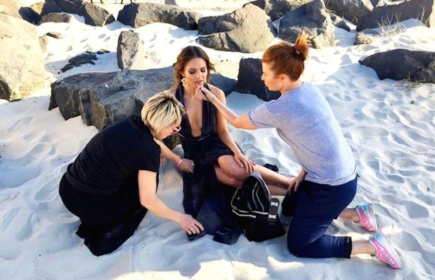 Rosie Mckay the Sydney fashion stylist on a shoot