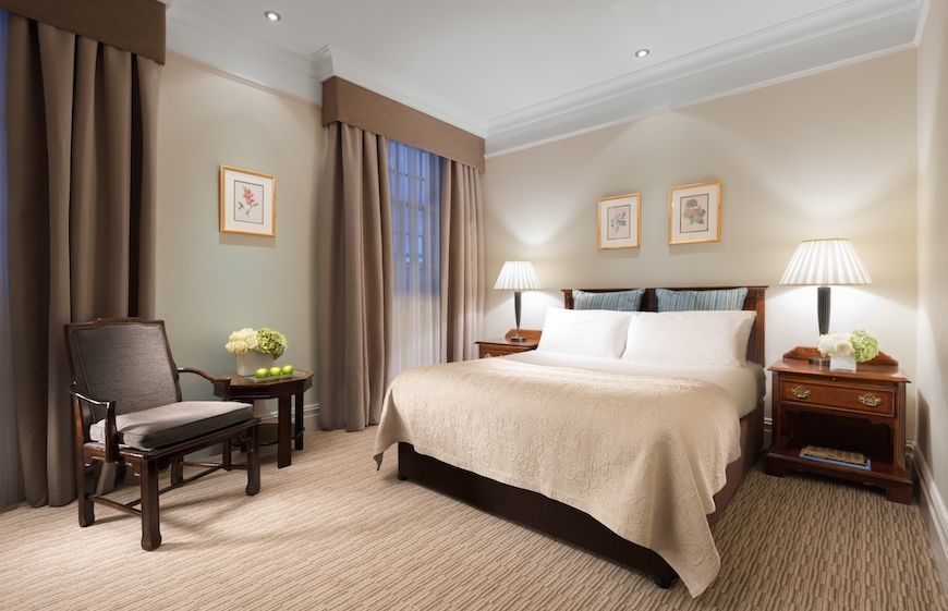 A luxury guest room at St James' Court, A Taj Hotel in London
