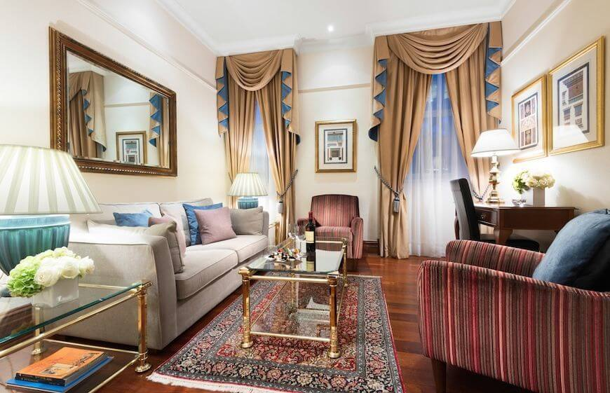 A classic living room at St James' Court, A Taj Hotel in London