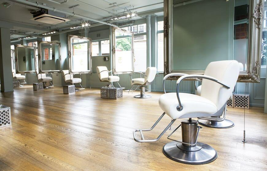 Styling stations at The Chapel hair salon in London