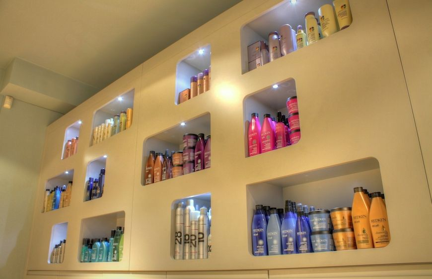 Hair care products at The Chapel hair salon in London