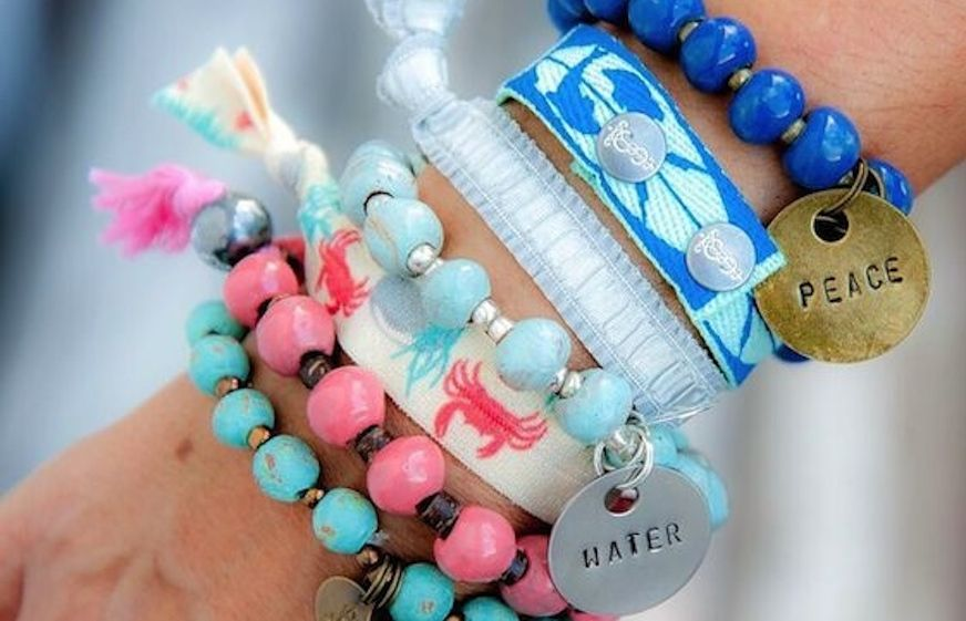 SIMBI INC handmade bracelets in material and clay