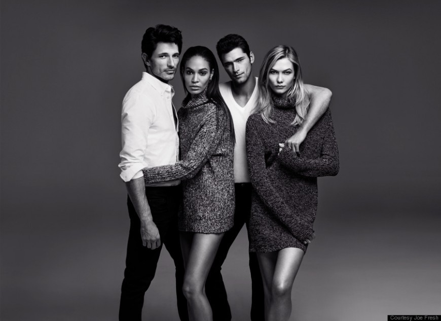 Joan Smalls and Karlie Kloss modeling with other supermodels