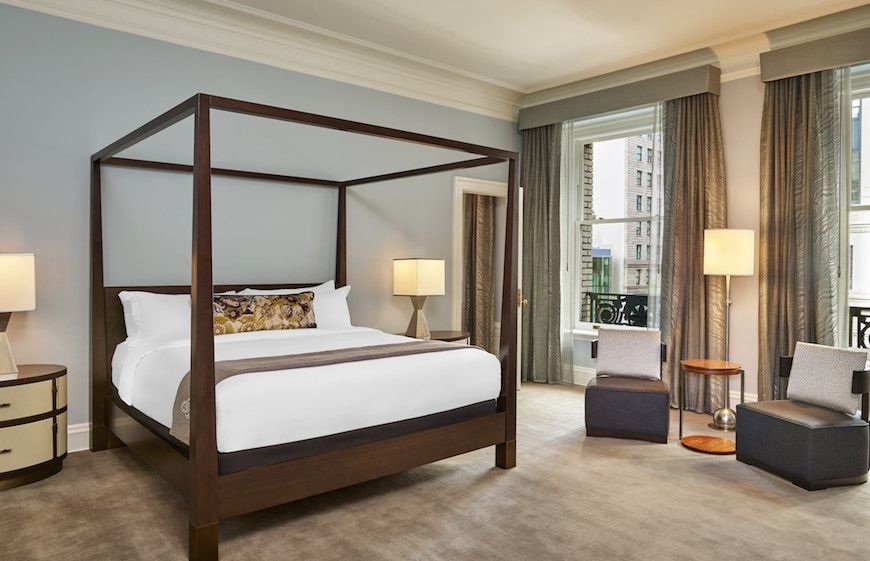 A rennovated guest room at The Palace Hotel San Francisco