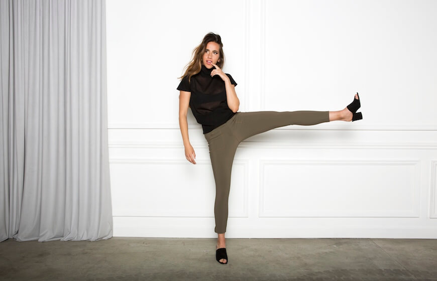 A woman wearing Ankle Skinny Pants in khaki by Aella
