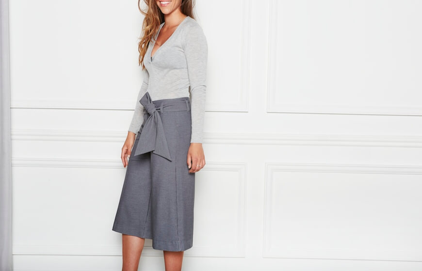 A woman wearing High Waist Culottes by Aella
