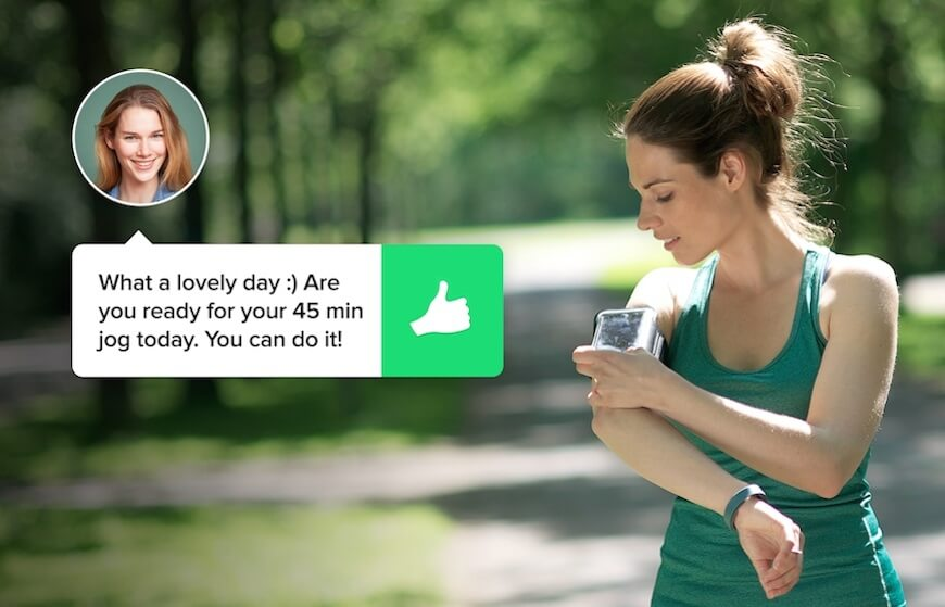 Woman training and liaising with her personal trainer on the Fitmo app