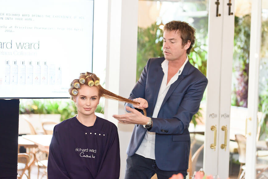 Royal hairdresser Richard Ward demonstrating his new hair product range