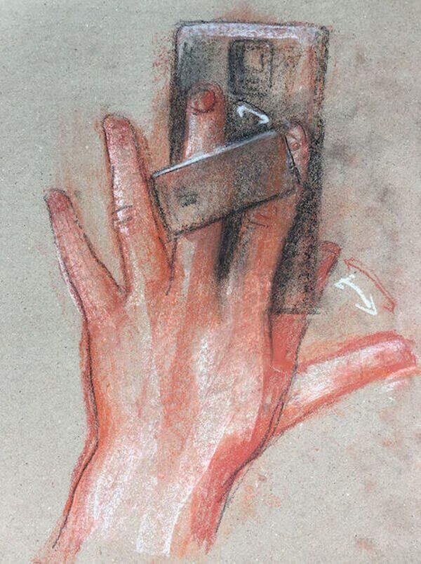 A drawing by Allen Hirsch of the HandL smartphone case