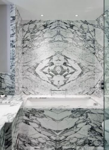 Marble bathroom at Marriott Park Lane